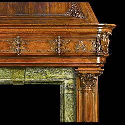 A Massive Medieval Revival Antique Walnut Chimneypiece Mantel