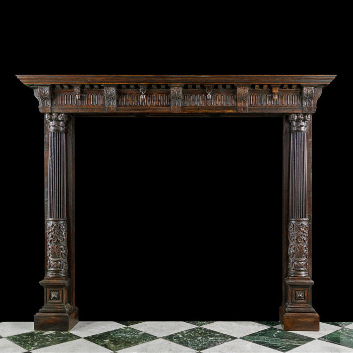 French Renaissance Revival Oak Fireplace