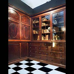 An antique mahogany panelled library