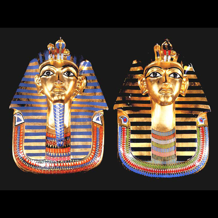 A pair of large 20th century Tutankhamun polychrome and wood masks