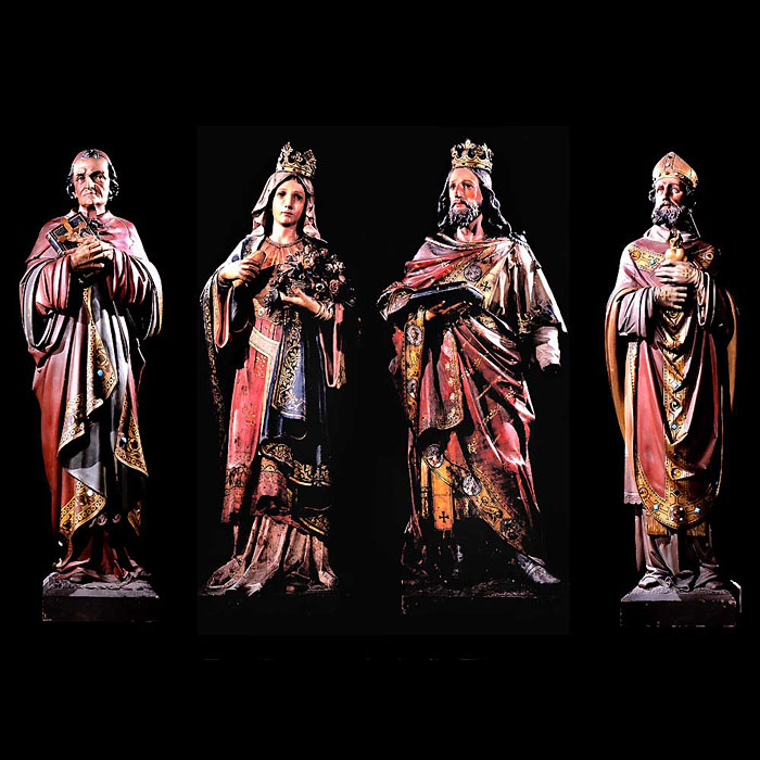 Antique set of carved ecclesiastical figures