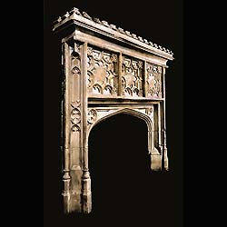 English Gothic Revival stone fireplace mantel
