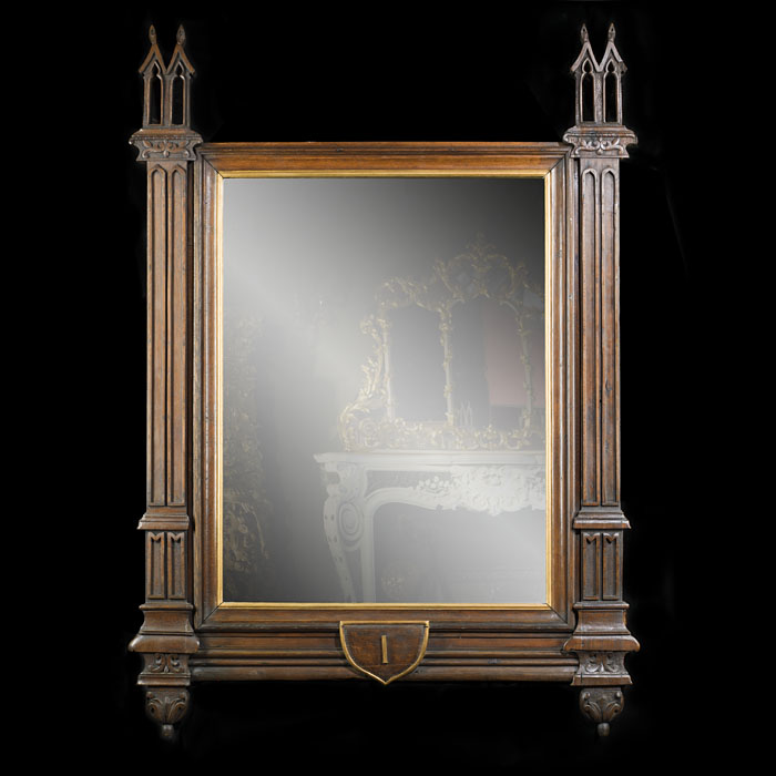 A Victorian Pugin Style Oak Wall Mirror
