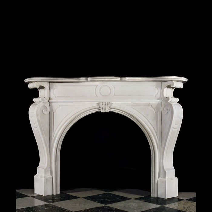 A Victorian antique Bianco Pi Marble Chimneypiece