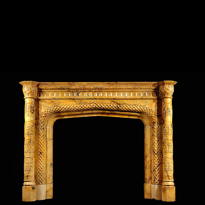 Gothic Revival Sienna Marble fireplace surround