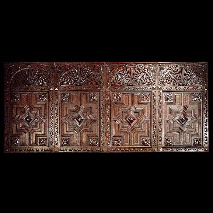 Antique set of six Jacobean style oak panels