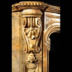 A fine antique Baroque fireplace in beautifully figured Siena  Marble