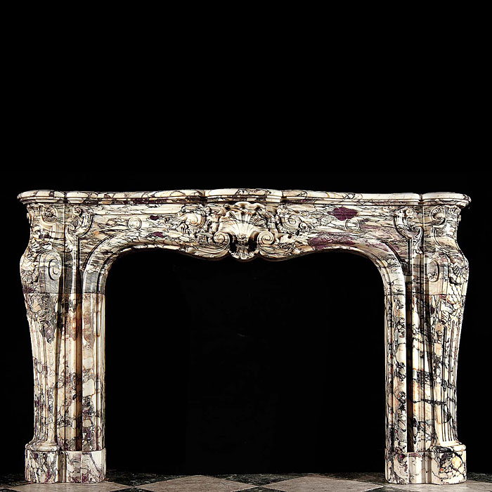 Antique French Breche Violette marble fireplace from Bath House in Piccadilly