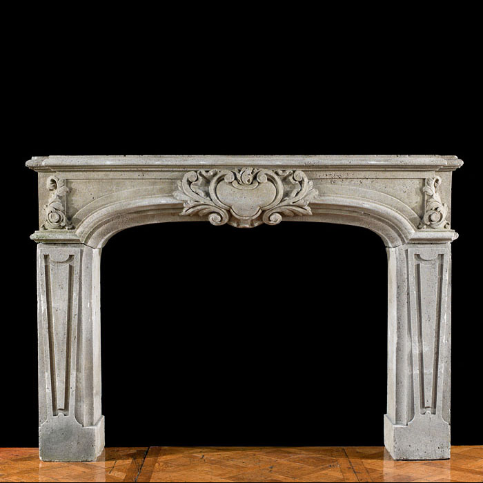 Baroque style stone antique chimneypiece