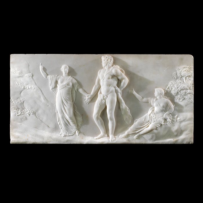 A Statuary Marble fireplace tablet of the Roman hero Hercules