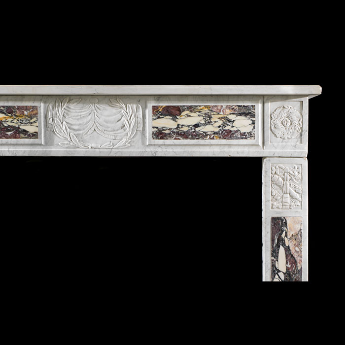 An antique Italian Carrara & Brescia Violette Marble Fireplace