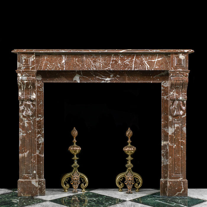 7633: A Louis XVI style antique fireplace mantel in Rouge Royale marble.French, circa 1870.  Link to a section showing full range of similar/related Louis XVI chimneypieces