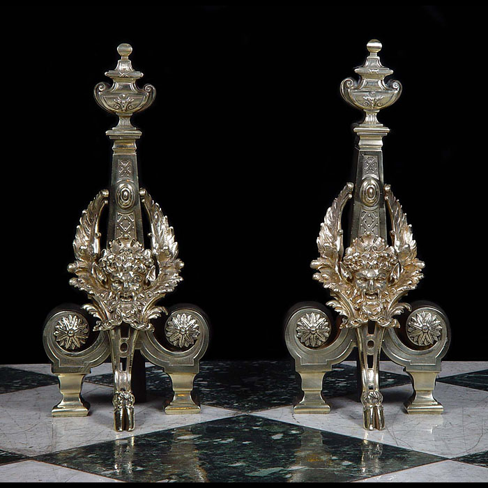 Antique Louis XVI Chenets in Brass