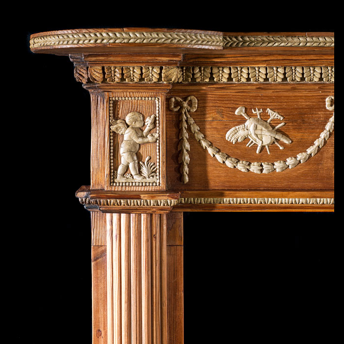 A carved pine Georgian style Antique Chimneypiece Mantel