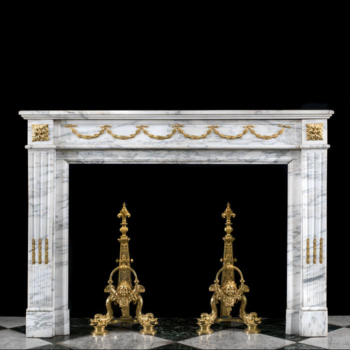 A French Statuary & Ormolu Fireplace Mantel