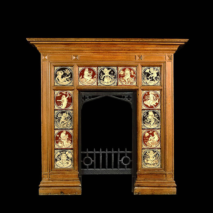 Arts and Crafts Minton Tiled antique oak fireplace