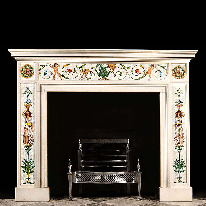 A Greek Revival Flaxman style marble and micromosaic fireplace