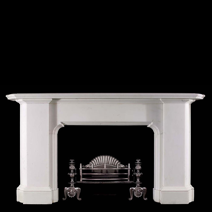 A Strikingly Elegant Unadorned Regency Statuary Marble Antique Chimneypiece Mantel