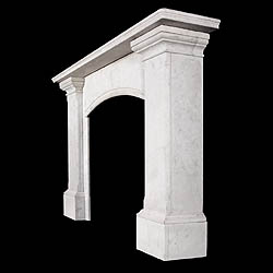 A Large Regency Carrara Marble Antique Fireplace Surround