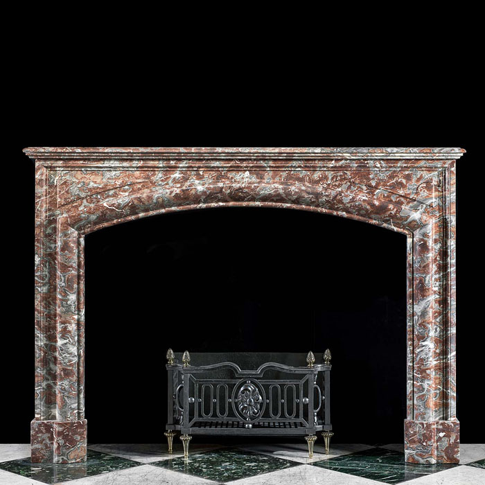French arched Baroque style marble fireplace