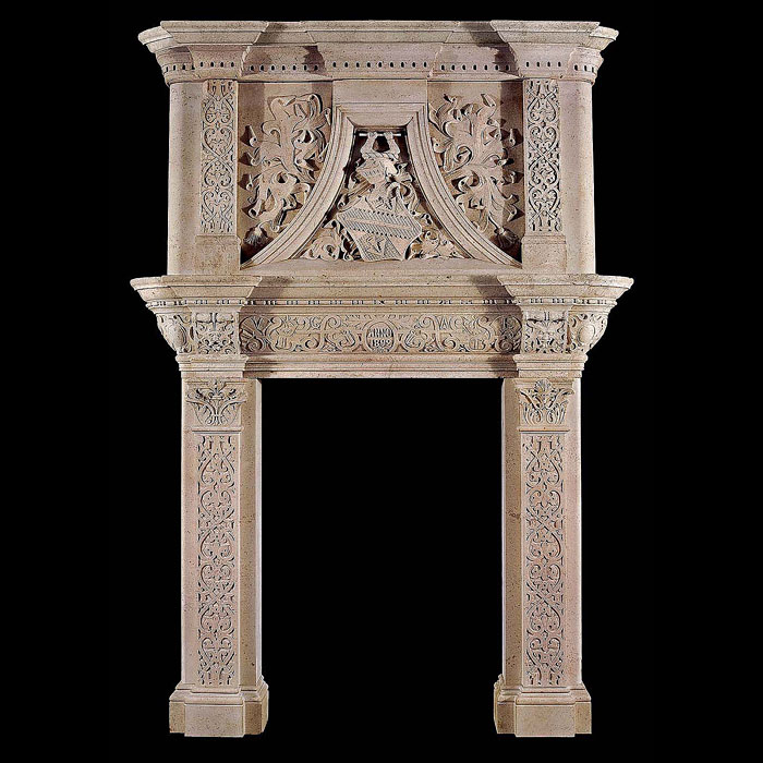 A Renaissance Revival antique stone fireplace surround