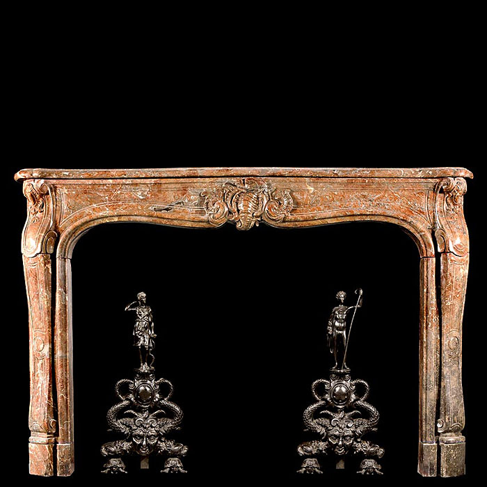 French Rococo Antique Languedoc Marble chimneypiece
