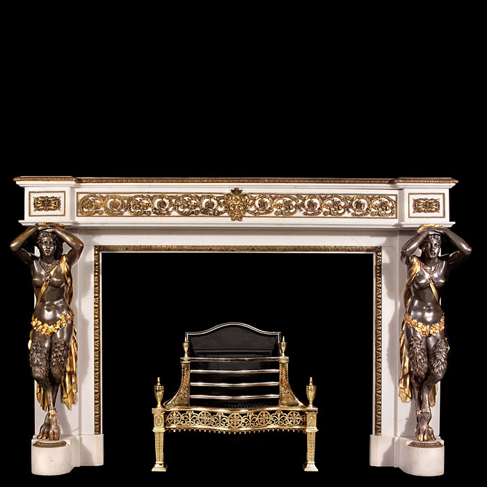 Bronze and Statuary Marble Louis XVI antique fireplace