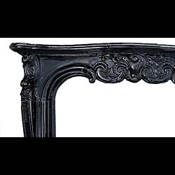 Antique Belgian Black Marble carved Louis XV Rococo French Chimneypiece