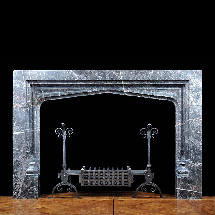 A Large Tudor Gothic style Ashburton Marble Antique Fireplace Surround