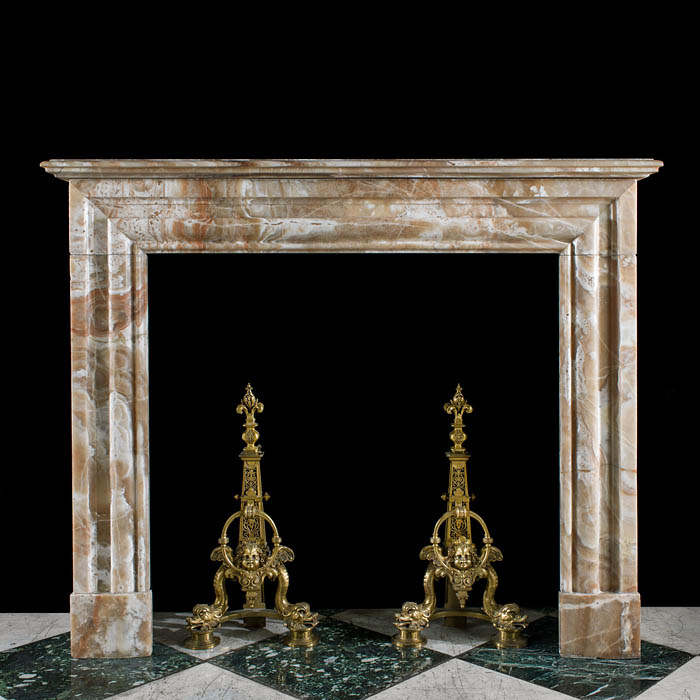 A Louis XIV style Cippolino Africano Marble Antique Fireplace Surround