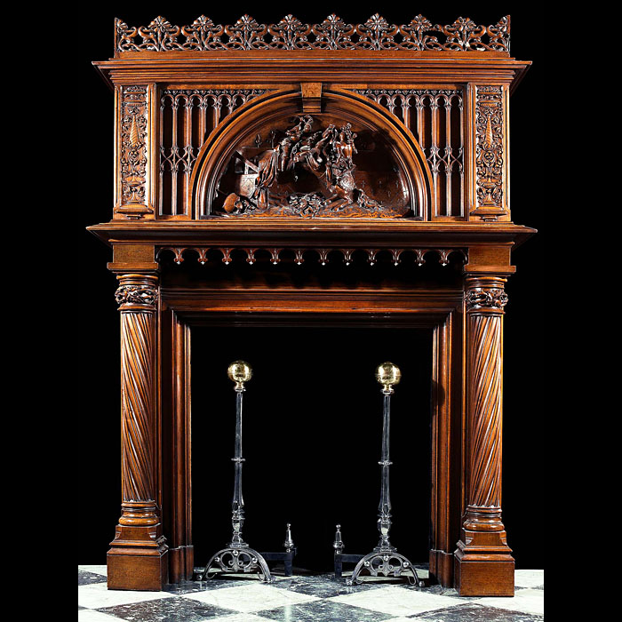 Gothic Revival walnut wood antique fireplace surround