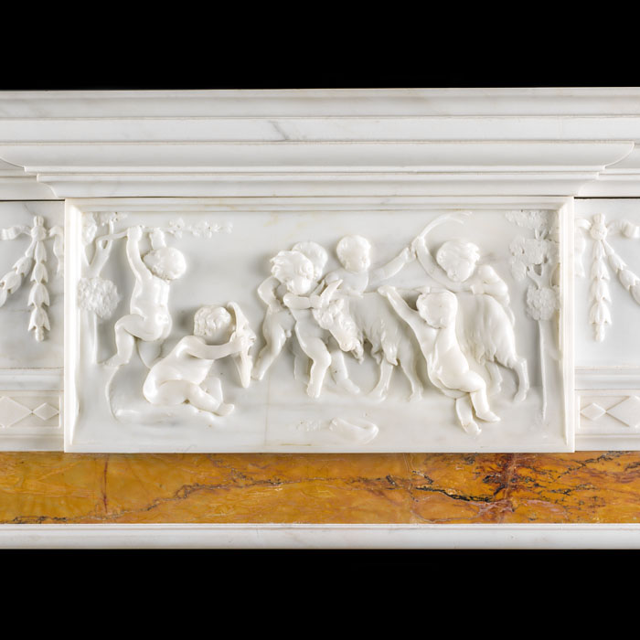 Antique English Georgian style carved Statuary Marble Fireplace Surround