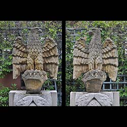 8047: A pair of composition eagles standing with outstretched wings.  Link to: Antique fountains, sculptures, garden furniture and statuary