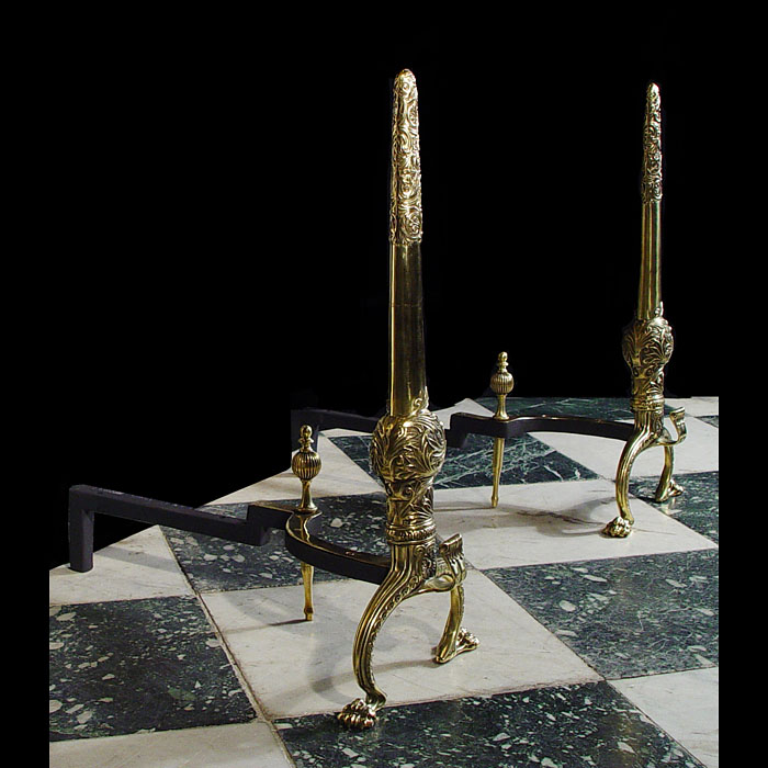 Tall Pair of Louis XVI Style Brass  Andirons