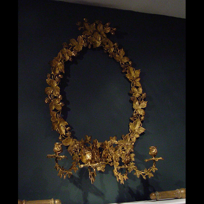 Antique Girandole Rococo Mirror Frame with Scrolling Branches