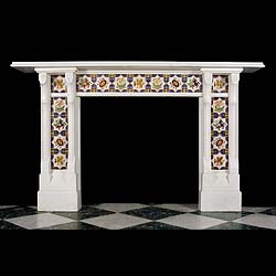 A Minton Tiled Victorian Statuary Fireplace