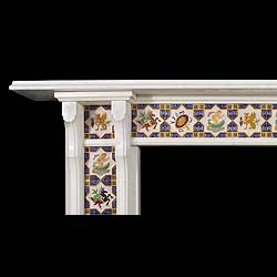 Antique Minton Tiled Victorian Statuary Marble English Chimneypiece