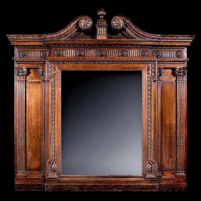 Large Palladian Style Oak Overmantel Mirror