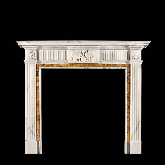 8259: Aesop's Fables 'The Fox, Stork and Pitcher' An elegant George III style antique mantle finely carved in white Statuary marble with Sienna marble side panels & ingrounds and Sienna fluted frieze panels