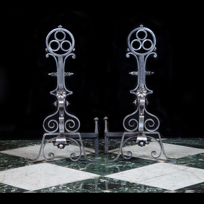 Antique wrought iron Celtic style andirons
