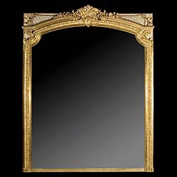 A Louis XVI gilt wood and ivory overmantel mirror