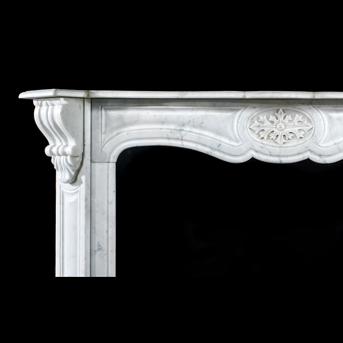 Antique Carrara Marble French Pompadour manner Chimneypiece