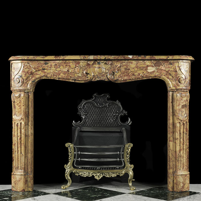 Antique French Louis XV Yellow Marble Fireplace Mantle