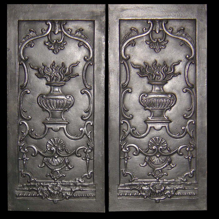 Louis XV antique cast iron fireplace panels