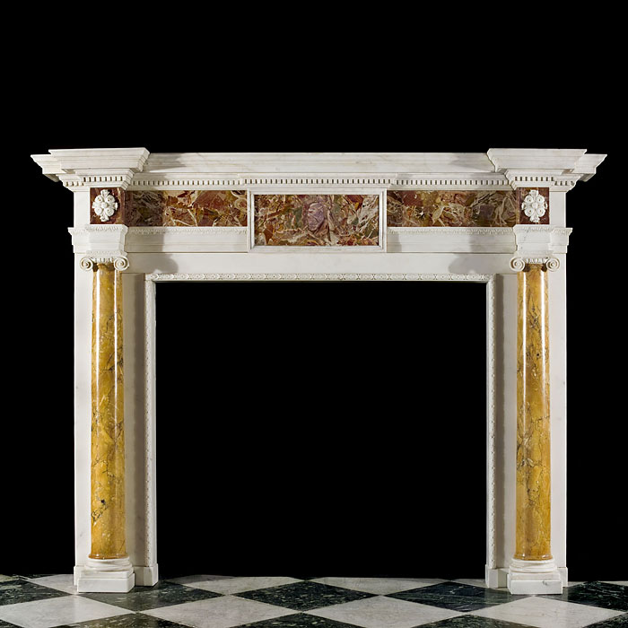 Sienna and Statuary marble Georgian fireplace mantel