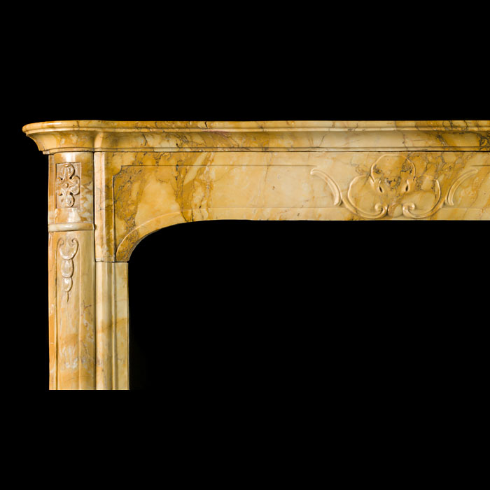 Antique Giallo di Sienna Marble Italian Chimneypiece