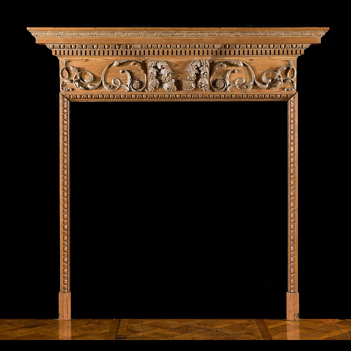 A George III Carved Pine Fireplace Mantel