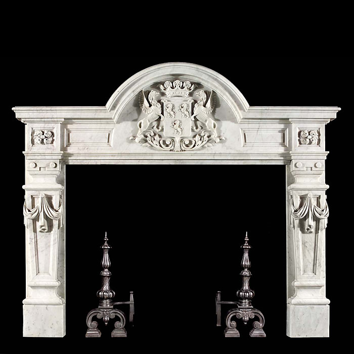 A small Carrara Marble Baroques chimneypiece