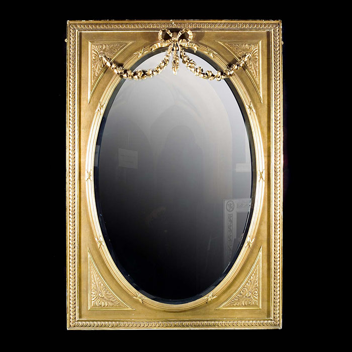 Antique Oval Mirror in a Rectangular Pine & Gesso frame