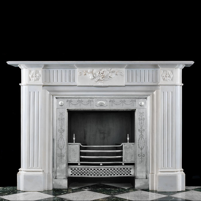 Antique Regency style Chimneypiece in White Marble with high relief carving
